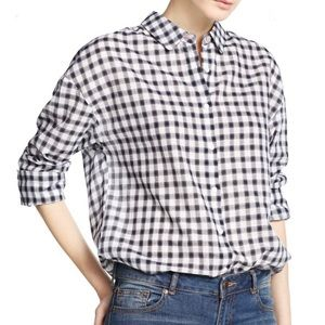 Mango Beautiful Gingham Long Sleeve Shirt NWT
